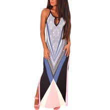 Women Sexy Sleeveless Holiday Dresses Style Summer Multicolor Side Split Maxi Print Dress