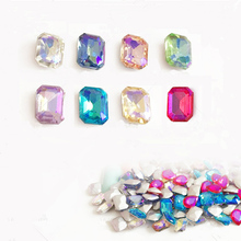 10pc Nail Art Rectangle AB Colorful Rhinestones Decoration New Arrive 2017 New Popular 6*8mm Japanese Nail Strass NP262