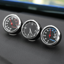 Creative Mini Quartz Clock Watch Thermometer Hygrometer Digital Pointer Decoration Auto Car Ornaments Car Styling Accessories