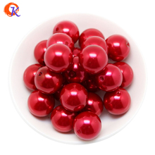 A60 Cordial Design 100pcs/lot Fashion Jewelry 20mm Acrylic Red Pearl Beads Chunky Beads For Handmade Necklace CDWB-515022(China)