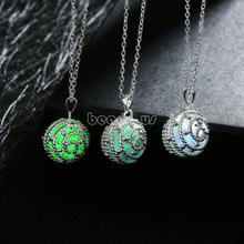 Jewelry Necklace,Chinese Jewelry Company, Zinc Alloy, with Fluorescent Powder Stone, Round oval chain & luminated & hollow