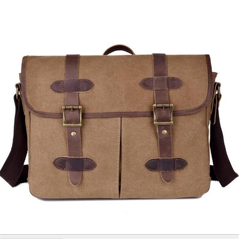 Fashion Horsehide Canvas Men Briefcase Brand Business Men Single Shoulder Messenger Crossbody Bag 15 Inch Man Computer Bags B100<br><br>Aliexpress