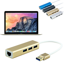 USB 3.0 to RJ45 Lan Card Gigabit Ethernet Network Adapter+3 Port Hub for Macbook