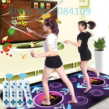 2015 new PC English menu double dance pad Non-Slip Dancing Step Motion Sensing Dance Game Mat Pad for PC & TV +2 remote control(China)