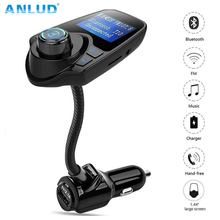 New ANLUD Bluetooth Car Kit Handsfree FM Transmitter Car MP3 Audio Player with LCD Display USB 5V 2.1A Charger Support TF Card(China)