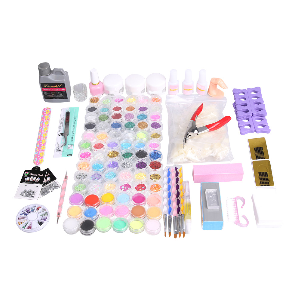 Nail Art Set 18 Colors Crystal Sculpture Powder Nail Glue Brushes Painting Drawing Pen Curved Tweezers 4-way Buffer Block Tools<br>