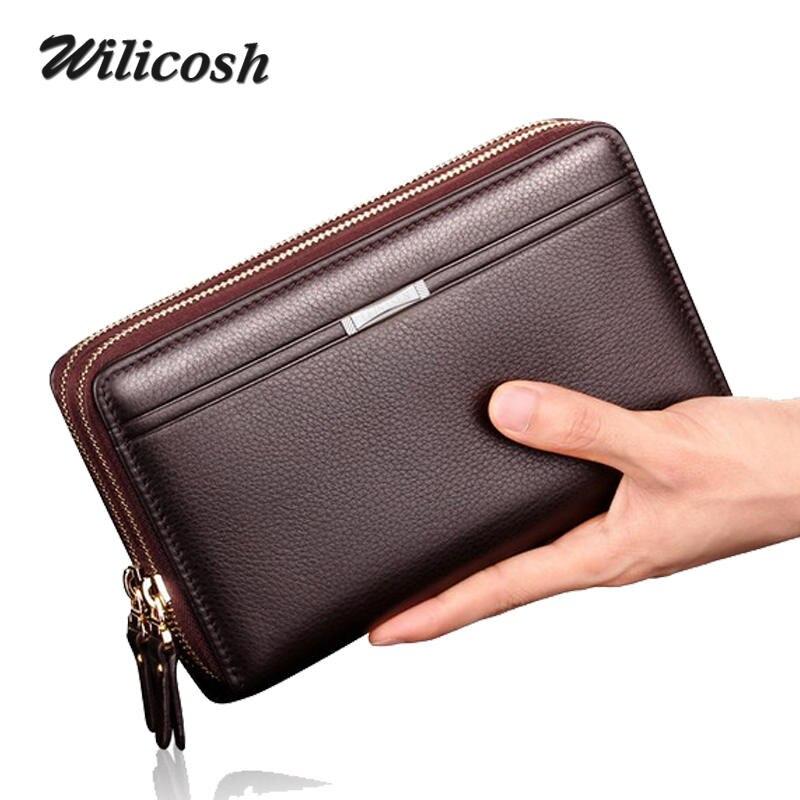 Wilicosh Business Long Wallets Men PU Leather Clutch Purse Men Handy Bag Carteira Masculina Double Zipper Large men Wallet WL485<br><br>Aliexpress