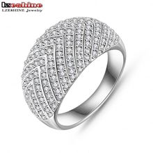 LZESHINE Brand 2016 New Style Arrow Pattern Ring Silver/Gold Color Micro Pave Cubic Zircon Wide Ring CRI0025