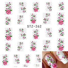 1 Sheets Hot Pink Flower Vine Pattern Water Transfer Multi-use Sticker Nail Art Tips Beauty Decals Nail Tools STZ262