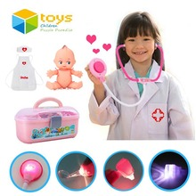 34 PCS Plastic Nurse Doctor Toys Pretend Play Medical Tool Box Kit Physician Cosplay Set for Children Kids Baby with Light Sound(China)
