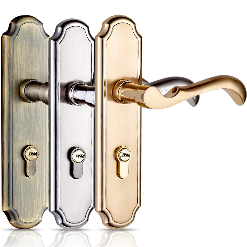 High-quality Door Lock Bedroom Door Interior Room Door Solid Wood Gate Locks Door Handle Simple Double Lock Tongue, with 3 Keys(China (Mainland))