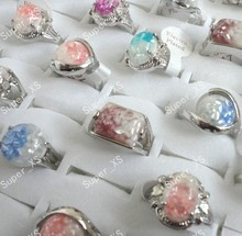 Fashion Cool Hot sale wholesale lots jewelry 12pcs Abalone Alloy Shell silver plated rings New free shipping LB100