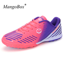 MangoBox Gold Pink Football Shoes Men Sport Brand Soccer Shoes Boys Lightweight Soccer Boots Indoor Original Football Sneakers(China)