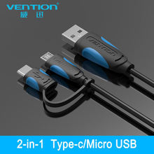 VENTION 2 in 1 Micro USB cable and USB Type C cable for Samsung S8 xiaomi mi5 Fast Charger for huawei samsung phone cable charge(China)
