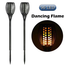 Waterproof IP65 Solar Lawn Flame Lamp Tiki Torch Lights Dancing Flame Flickering Decorative Lights For Garden Courtyard Lamp(China)