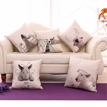 "Square 18"" Cotton Linen Bull Terrier Cute Dogs Picture Printed Sofa Decorative Seat Cushions Covers Almofada Pets Home Deco(China)"