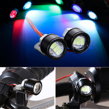 2pcs free shipping 3w eagle eye projector headlight round led motorcycle DRL LED strobe lights