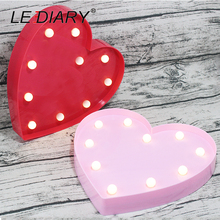 LEDIARY Romantic 3D Heart Night Light Red Pink LED Decoration Lamp For Party Valentine's Day Bedroom Kids Gift Use AA Battery(China)