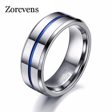 Buy ZORCVENS 2017 Fashion Thin Blue Line Tungsten Ring Wedding Brand 8MM Tungsten Carbide Rings Men Jewelry for $6.65 in AliExpress store