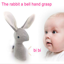 HOT 21cm Rabbit Baby Toys Plush 0-12 months BB Bunny Rattle mobiles Infant Ring Bell Crib Sound Cute Animal Bebe Toy Kids Doll