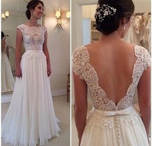 New Arrival 2017 Custom Made Backless A Line Wedding Dresses Vintage Sleeveless Lace Bridal Gowns