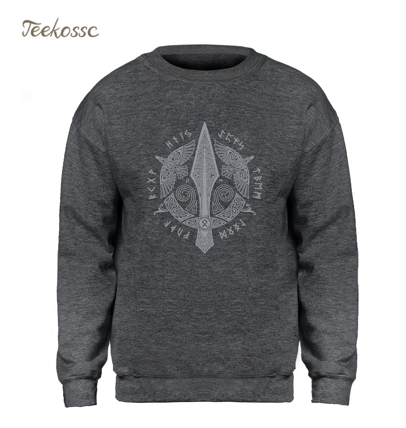 Odin Vikings Sweatshirt Men Viking Berserker Stylish Hoodie Crewneck Sweatshirts Winter Autumn Black Streetwear Cool Loose Mens