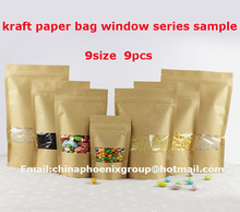 9 different size kraft paper bag window, Doypack Pouch Ziplock Packaging Bag for Food Storage 9pcs free shipping(China)