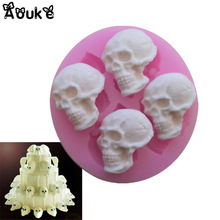 3D Skull Head Chocolate Molds Embossed Silicone Cake Mold Biscuits Fondant Mould DIY Baking Decorating Tools Cookies Moulds M125
