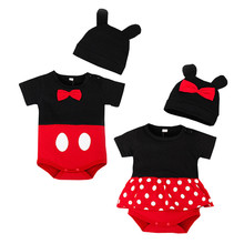 2016 Cute Children Clothing Sets Short Sleeve Character Romper Dress + Hat Two-piece Girl Boys Cotton Romper Clothing Sets(China)