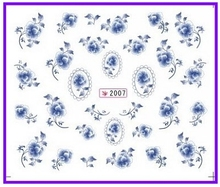 6 PACK/ LOT  GLITTER WATER DECAL NAIL ART NAIL STICKER CHINA BLUE FLOWER SY2007-2012