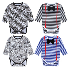 2Pcs/Lot Boys Romper Infant Striped Tie Jumpsuit Overalls Newborn Pajamas Baby Clothes Costumes Roupas Mamelucos Para Bebes