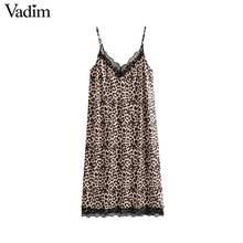 Vadim women V neck lace leopard shift dresses spaghetti strap backless  animal pattern sleeveless sexy dress vestido QA642 6b0867ea5acd