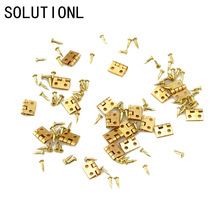 Novelty 20pcs Mini Metal Hinge for 1/12 House Miniature Cabine Dollhouse Miniature Furniture Cabinet Closet Mini Hinges - Golden