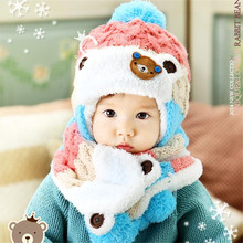 2 pcs/set Winter Warm Baby Boys Girls Hat Scarf Set Cute Knitted Cotton Hats For 6-48 months Kitten ear protection winter hat Ne