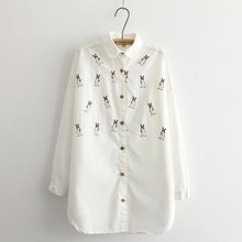 Women's Blouses Cartoon Rabbit Embroidery White Long Blouse Casual Loose Long-sleeved Shirt Preppy Style Spring New Autumn