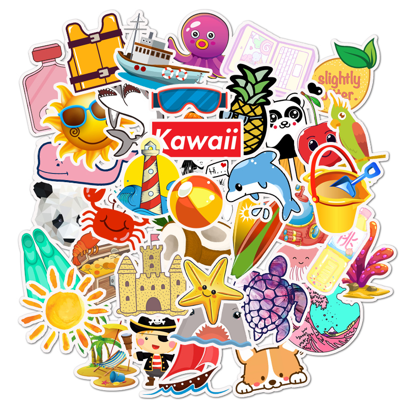 50 PCS Cute Summer Sea Stickers For Chidren Toy Waterproof Sticker to DIY Suitcase Laptop Bicycle Helmet Car Decals