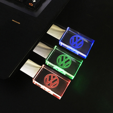 Crystal LED USB FLash Drive for Volkswagen's VW Logo Car USB 2.0 4GB 8GB 16GB Memory Drive Stick Pen/Thumb 32GB USB Stick