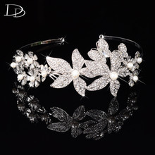 elegant flowers design bridal tiara for women simulated pearl crown wedding party hair accessories crystal fashion jewelry HF027(China)