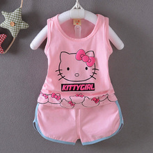 SexeMara Summer Children costume Girls Hello Kitty Clothing Sets T Shirt+Shorts Pants Baby Cartoon baby Clothes Set For 0-3Year