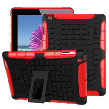 "Cover For Apple iPad 4 case Armor Shockproof Non Slip Stand Tablet Case for iPad 3 iPad 2 case 9.7""Protection Cover TPU&PC Combo(China)"