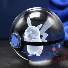 New Fashion Pokemon Go Snap Cute Pikachu 3D Crystal Glass Ball figiure Gifts