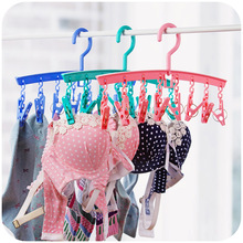 1PC Multifunction Plastic Children Kids Baby Clothes Hanger Drying Rack With Clothespins For Socks Underwear 3 Colours(China)