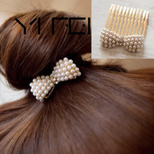 2017 New Fashion Jewelry Wholesale Factory Supplier Bowknot Pearl Hair Combs Hair Accessories(China)