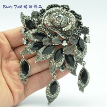 Beautiful Rhinestone Crystals Brooches Black Flower Rose Brooch Pink Broach Pendant For Women 's Jewelry BLN6454(China)