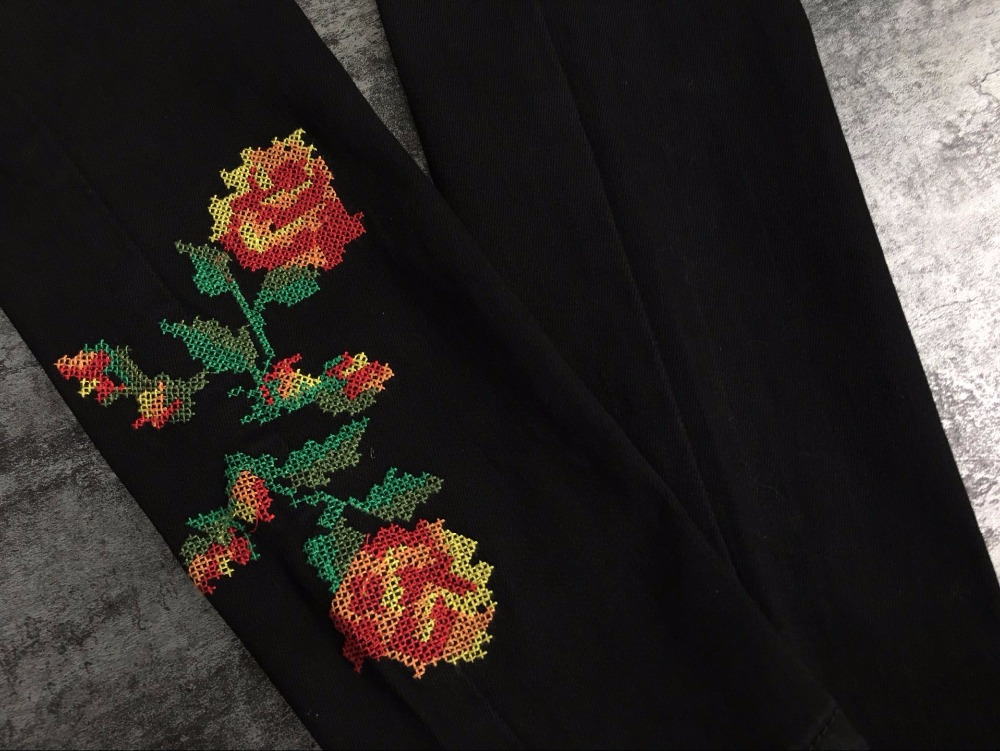 Hot Sexy High Waist Denim Stretchy Black Jeans Embroidery Rose Fashion Skinny Full Length Bodycon Tight Women Pencil Jeans Femme (13)