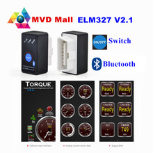 V2.1 Super MINI ELM327 Bluetooth Power Switch ELM 327 2.1 OBD2 OBDII Interface For Android Torque Car Code Scanner FREE SHIPPING