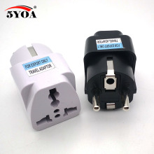 International Travel Universal Adapter Electrical Plug For UK US EU AU to EU European Socket Converter White Black two colors(China)