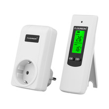 Floureon Wireless Thermostat RF EU Plug Temperature Controller LCD Display With Green Backlight Thermostats Thermoregulator(China)
