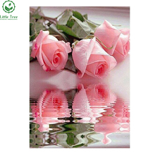 Diy diamond painting Hot sales diy home decoration Pink rose flower Resin Square diamond crafts cross stitch diamond embroidery