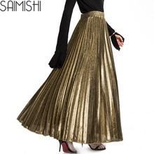 Ladies 2017 Summer Fashion Vintage Silver Golden Maxi Skirt Promotions Slim High Waist Beach Long Pleated Skirts for Women
